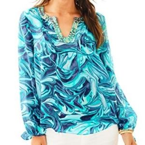 LILLY PULITZER Colby Silk Ocean Wave Top Blouse S